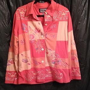 Indigo moon embroidered button patchwork blazer